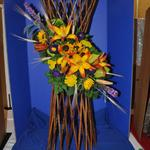 """Bountiful, Beautiful Harvest"" - by Sandra Gossman, Ames Garden Club; Designer's Choice Award (for top design using fresh and/or dried plant material)"